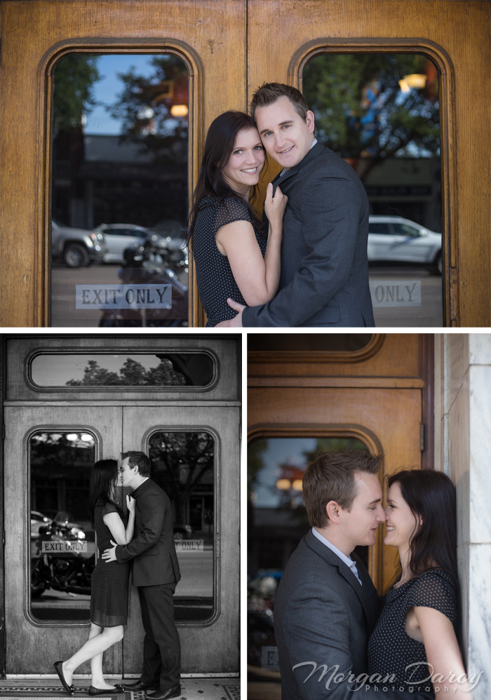 Edmonton Wedding Photographer photography photographers morgan darcy photography Whyte Ave Engagement portrait session vintage theatre