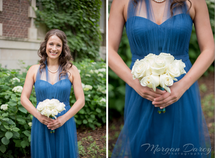 Edmonton wedding photographer photography photographers morgan darcy photography bridesmaid portrait white rose bouquet blue dress