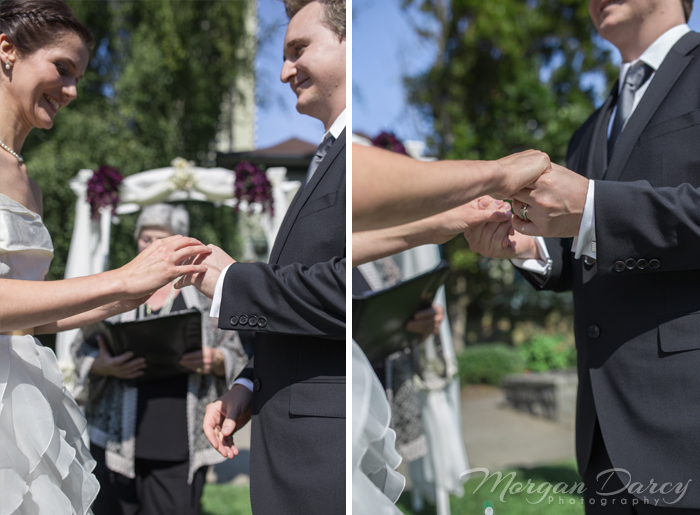 Vancouver wedding photographer photography photographers morgan darcy photography downtown west end heritage house ceremony arch vows rings hands bride groom fountain