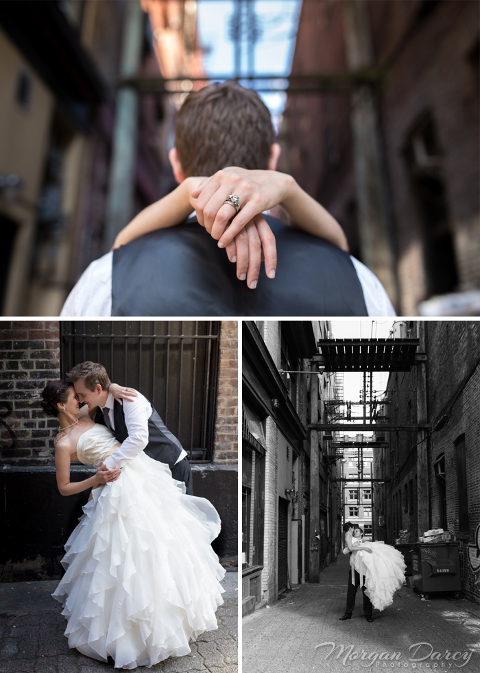 Vancouver wedding photographer photography photographers morgan darcy photography downtown west end gas town alley bride groom style portraits