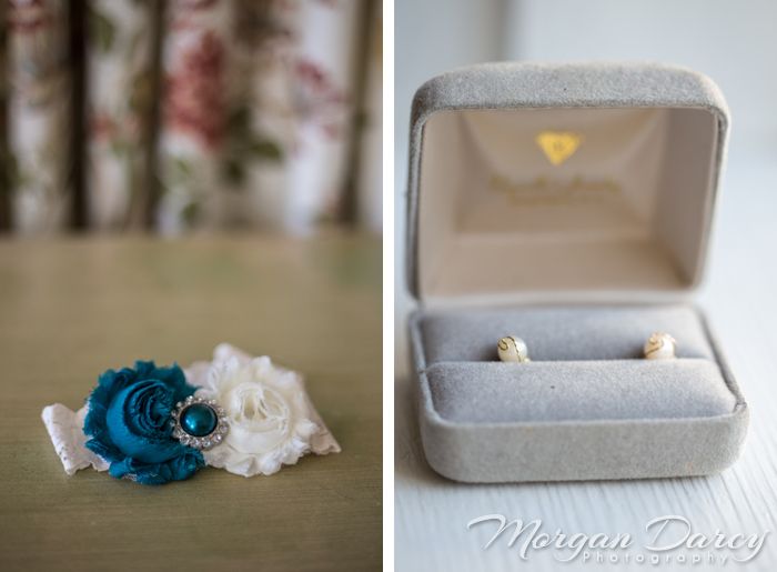 Vancouver wedding photographer photographers photography bowen island evergreen in sun bride getting ready fabric flower garter vintage pearl earrings