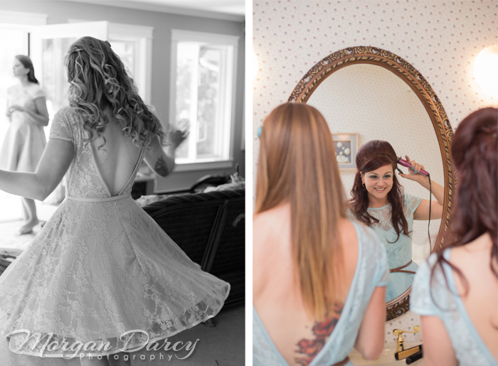 Vancouver wedding photographer photographers photography bowen island evergreen in sun bride getting ready bridesmaids blue dress twirl