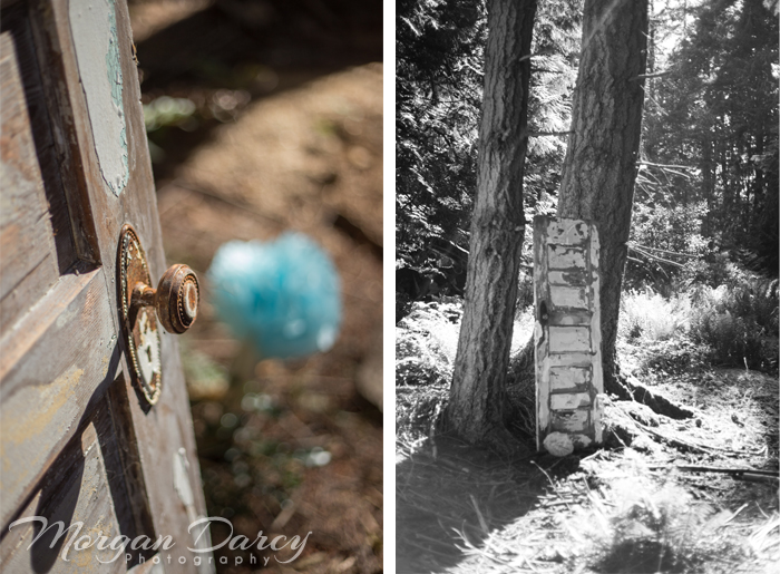 Vancouver wedding photographer photographers photography bowen island details old doors vintage doorhandles forest tissue paper pom