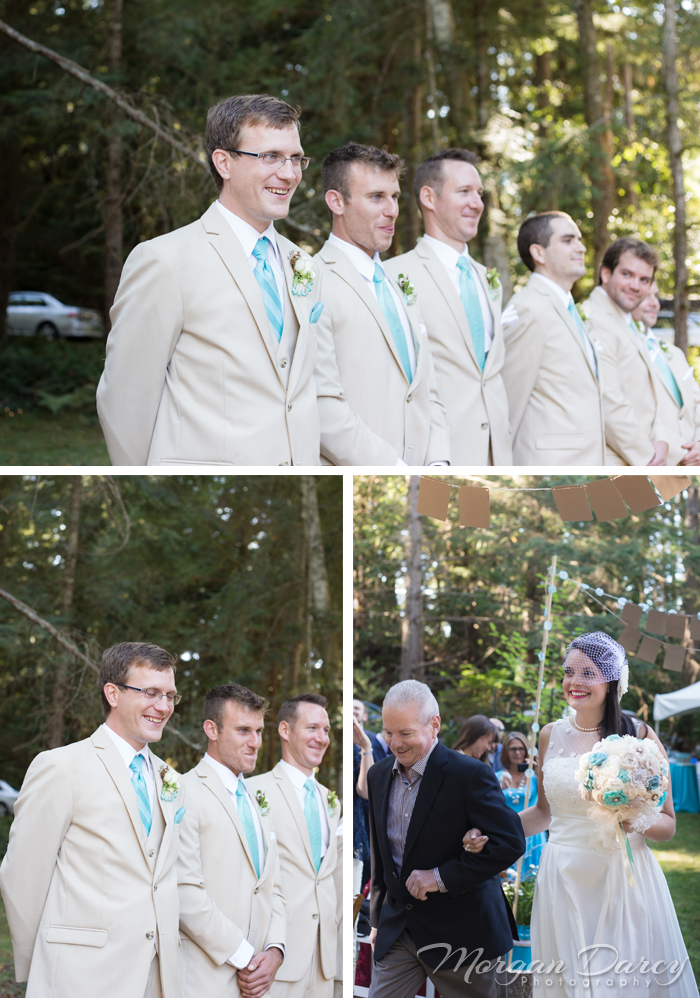 Vancouver wedding photographer photographers photography bowen island details lace curtain arch bunting daisies forest woodland chic ceremony groom groomsmen processional bride father of the bride