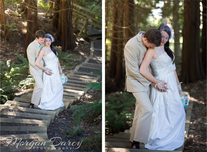 Vancouver wedding photographer photographers photography bowen island forest woodland chic bride groom portraits forest stairs