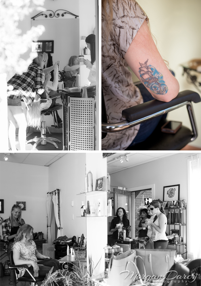 Vancouver wedding photographer photographers photography bowen island studio B bride getting ready wedding hair tattoo ship bridesmaids
