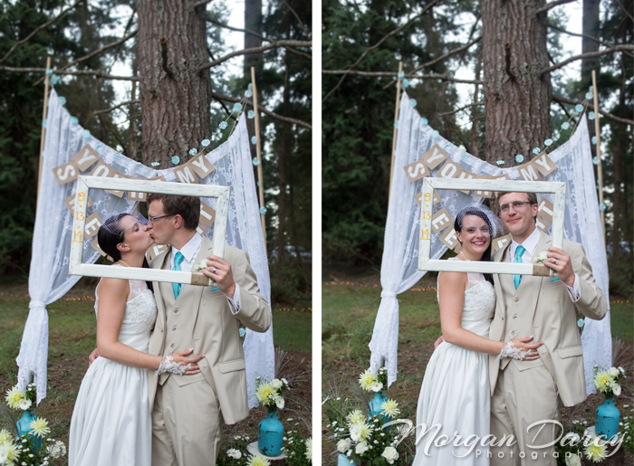 Vancouver wedding photographer photographers photography bowen island forest woodland chic bride groom portraits bunting lace picture frame