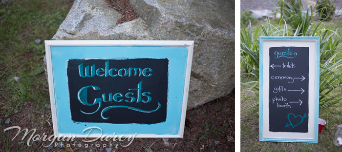 Vancouver wedding photographer photographers photography bowen island forest woodland chic reception chalkboard signs
