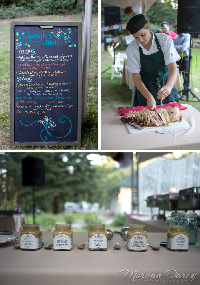 Vancouver wedding photographer photographers photography bowen island forest woodland chic reception chalkboard menu sauces carving dinner